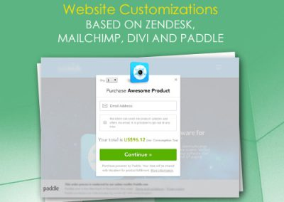 Website Customizations based on Zendesk, MailChimp, Divi and Paddle