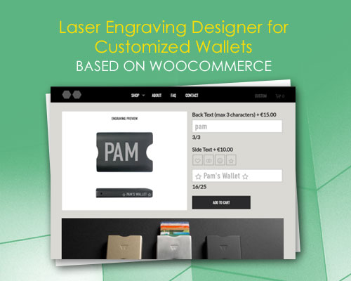 Laser Engraving Designer for Customized Wallets based on WooCommerce