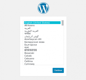 WordPress 5 installation screen