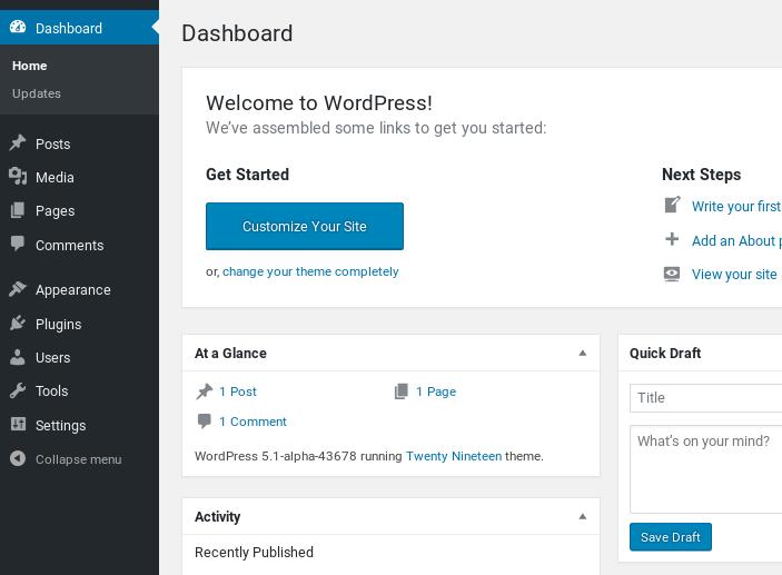 WordPress 5 Dashboard